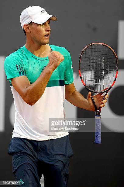 Dominic Thiem of Austria celebrates winning the first set against Diego Schwartzman of Argentina during the Rio Open at Jockey Club Brasileiro on...