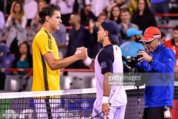 Dominic Thiem of Austria congratulates Diego Schwartzman of Argentina on his victory during day five of the Rogers Cup presented by National Bank at...