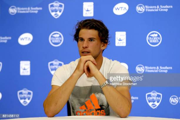 Dominic Thiem of Austria fields questions from the media during day 3 of the Western Southern Open at the Lindner Family Tennis Center on August 14...