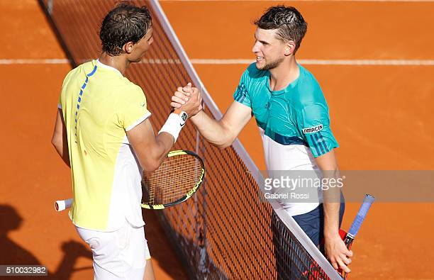 Dominic Thiem of Austria greeets Rafael Nadal of Spain after wining the match between Rafael Nadal of Spain and Dominic Thiem of Austria as part of...