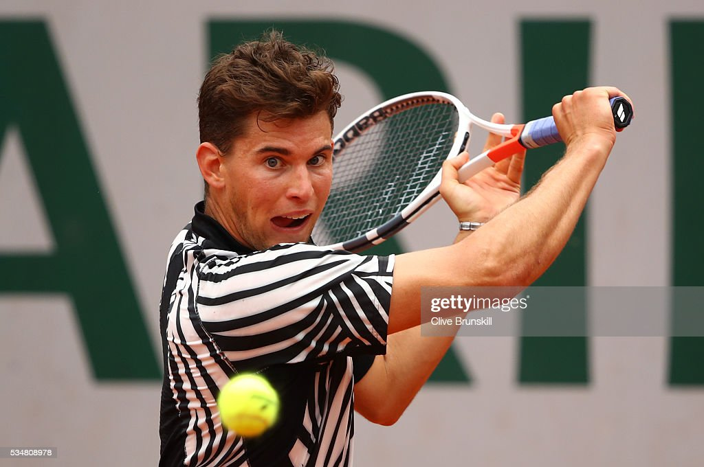 <a gi-track='captionPersonalityLinkClicked' href=/galleries/search?phrase=Dominic+Thiem&family=editorial&specificpeople=7026383 ng-click='$event.stopPropagation()'>Dominic Thiem</a> of Austria hits a backhand during the Men's Singles third round match against Alexander Zverev of Germany on day seven of the 2016 French Open at Roland Garros on May 28, 2016 in Paris, France.