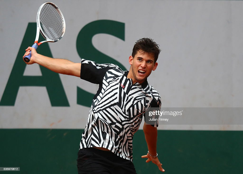 <a gi-track='captionPersonalityLinkClicked' href=/galleries/search?phrase=Dominic+Thiem&family=editorial&specificpeople=7026383 ng-click='$event.stopPropagation()'>Dominic Thiem</a> of Austria hits a backhand during the Men's Singles fourth round match against Marcel Granollers of France on day ten of the 2016 French Open at Roland Garros on May 31, 2016 in Paris, France.