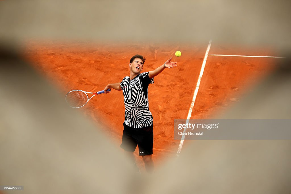 <a gi-track='captionPersonalityLinkClicked' href=/galleries/search?phrase=Dominic+Thiem&family=editorial&specificpeople=7026383 ng-click='$event.stopPropagation()'>Dominic Thiem</a> of Austria hits a forehand during the Men's Singles second round match against Guillermo Garcia-Lopez of Spain on day five of the 2016 French Open at Roland Garros on May 26, 2016 in Paris, France.