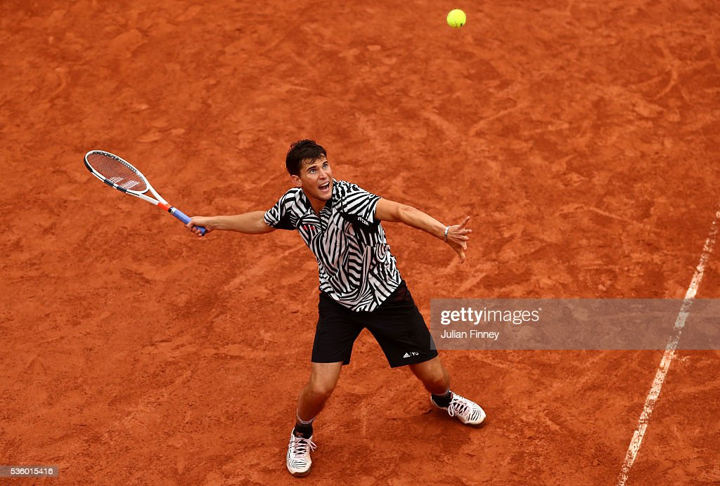 <a gi-track='captionPersonalityLinkClicked' href=/galleries/search?phrase=Dominic+Thiem&family=editorial&specificpeople=7026383 ng-click='$event.stopPropagation()'>Dominic Thiem</a> of Austria hits a forehand during the Men's Singles fourth round match against Marcel Granollers of France on day ten of the 2016 French Open at Roland Garros on May 31, 2016 in Paris, France.