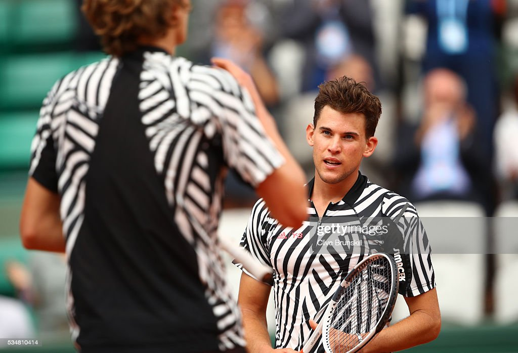 <a gi-track='captionPersonalityLinkClicked' href=/galleries/search?phrase=Dominic+Thiem&family=editorial&specificpeople=7026383 ng-click='$event.stopPropagation()'>Dominic Thiem</a> (R) of Austria hugs Alexander Zverev of Germany following his victory during the Men's Singles third round match on day seven of the 2016 French Open at Roland Garros on May 28, 2016 in Paris, France.