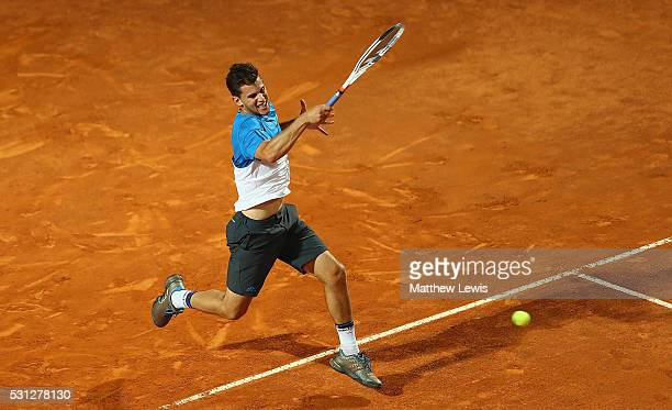 Dominic Thiem of Austria in action against Kei Nishikori of Japan during day six of the The Internazionali BNL d'Italia 2016 on May 13 2016 in Rome...