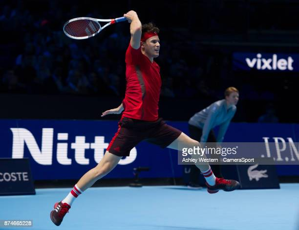 Dominic Thiem of Austria in action against Pablo Carreno Busta of Spain in their Group Pete Sampras match today Thiem def Busta 63 36 64 at O2 Arena...
