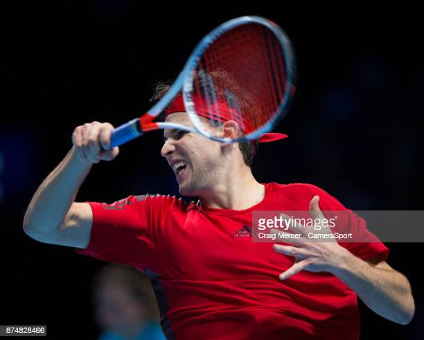 Dominic Thiem of Austria in action against Pablo Carreno Busta of Spain in their Peter Sampras group match today Thiem def Carreno Busta 63 36 64 at...