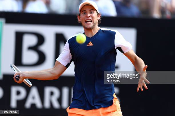 Dominic Thiem of Austria in action during the men's quarterfinal match against Rafael Nadal of Spain on Day Six of the Internazionali BNL d'Italia...