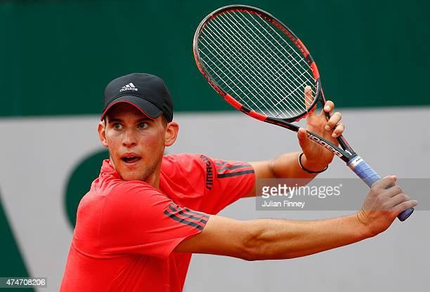 Dominic Thiem of Austria in action in his Men's Singles match against Aljaz Bedene of Great Britain Dominic Thiem of Austria on day two of the 2015...