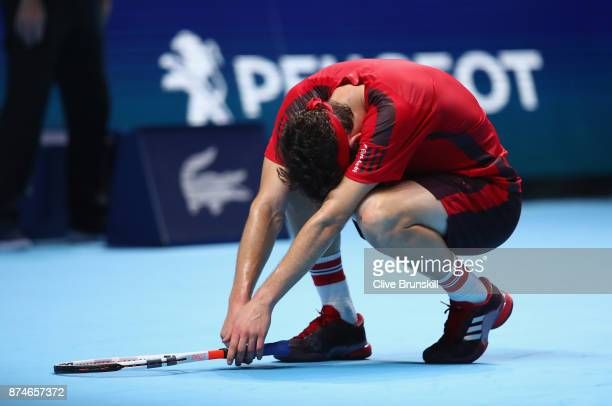 Dominic Thiem of Austria looks dejected during the singles match against Pablo Carreno Busta of Spain on day four of the 2017 Nitto ATP World Tour...