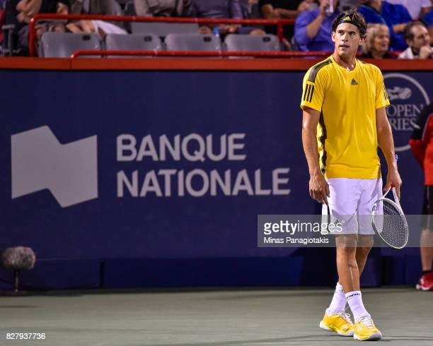 Dominic Thiem of Austria looks on against Diego Schwartzman of Argentina during day five of the Rogers Cup presented by National Bank at Uniprix...