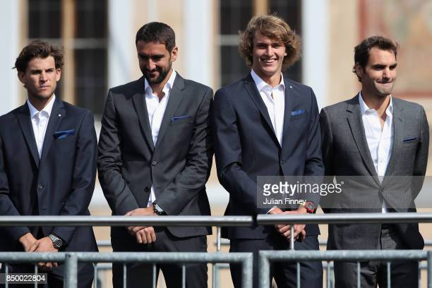 Dominic Thiem of Austria Marin Cilic of Croatia Alexander Zverev of Germany and Roger Federer of Switzerland looks on ahead of the Laver Cup on...