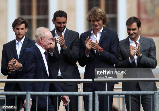 Dominic Thiem of Austria Marin Cilic of Croatia Alexander Zverev of Germany and Roger Federer of Switzerland applaude Rod Laver as he enters the...
