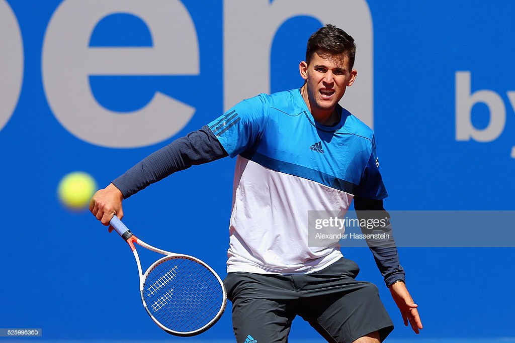 <a gi-track='captionPersonalityLinkClicked' href=/galleries/search?phrase=Dominic+Thiem&family=editorial&specificpeople=7026383 ng-click='$event.stopPropagation()'>Dominic Thiem</a> of Austria plays a back hand during his quater final match against Ivan Dodig of Croatia of the BMW Open at Iphitos tennis club on April 29, 2016 in Munich, Germany.