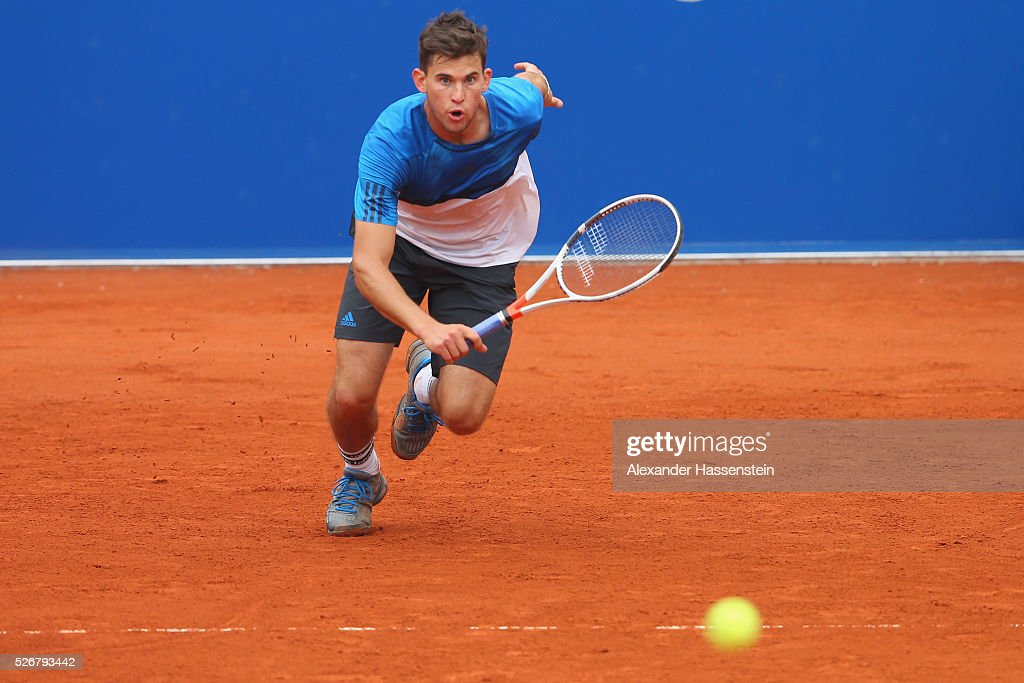 <a gi-track='captionPersonalityLinkClicked' href=/galleries/search?phrase=Dominic+Thiem&family=editorial&specificpeople=7026383 ng-click='$event.stopPropagation()'>Dominic Thiem</a> of Austria plays a backhand during his finale match against Philipp Kohlschreiber of Germany of the BMW Open at Iphitos tennis club on May 1, 2016 in Munich, Germany.