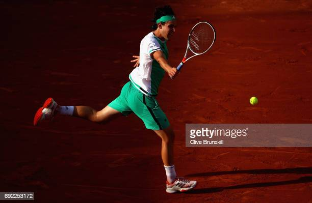 Dominic Thiem of Austria plays a backhand during the mens singles fourth round match against Horacio Zeballos of Argentina on day eight of the 2017...