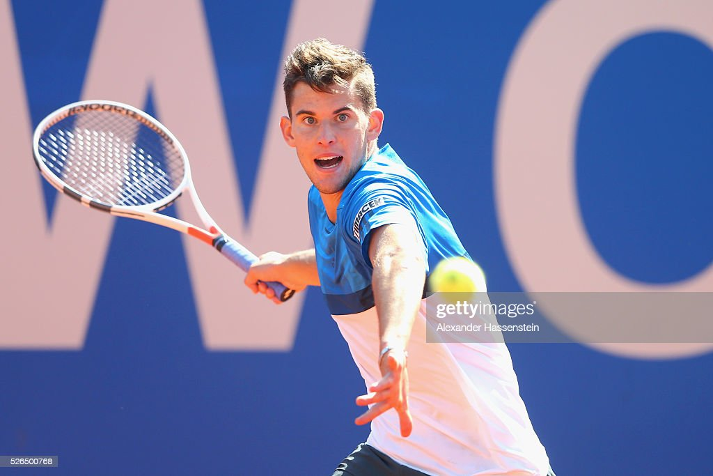 Dominic Thiem of Austria plays a fore hand during his semi finale match against Alexander Zverev of Germany of the BMW Open at Iphitos tennis club on April 30, 2016 in Munich, Germany.