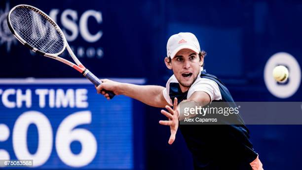 Dominic Thiem of Austria plays a forehand against Andy Murray of Great Britain in their semifinal match on day six of the Barcelona Open Banc...