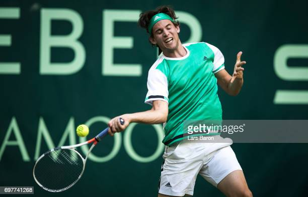 Dominic Thiem of Austria plays a forehand during his match against Maximilian Marterer of Germany plays a backhand during Day 3 of the Gerry Weber...