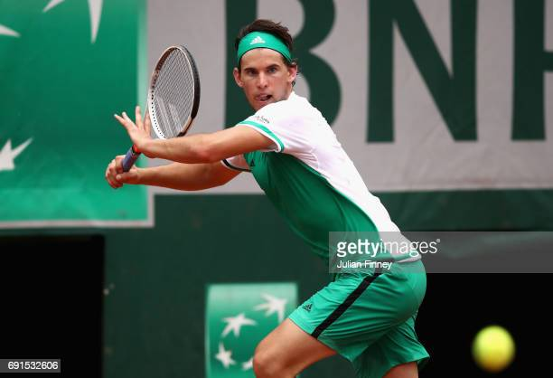 Dominic Thiem of Austria plays a forehand during mens singles third round match against Steve Johnson of The United States on day six of the 2017...
