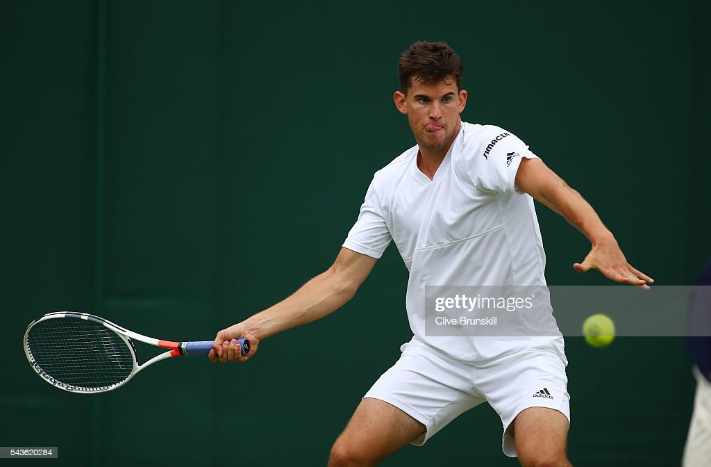 <a gi-track='captionPersonalityLinkClicked' href=/galleries/search?phrase=Dominic+Thiem&family=editorial&specificpeople=7026383 ng-click='$event.stopPropagation()'>Dominic Thiem</a> of Austria plays a forehand during the Men's Singles first round match against Florian Mayer of Germany on day three of the Wimbledon Lawn Tennis Championships at the All England Lawn Tennis and Croquet Club on June 29, 2016 in London, England.