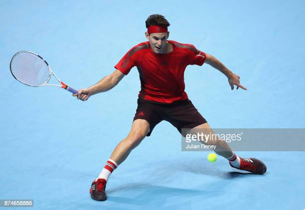 Dominic Thiem of Austria plays a forehand during the singles match against Pablo Carreno Busta of Spain on day four of the 2017 Nitto ATP World Tour...