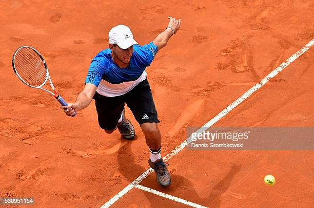 Dominic Thiem of Austria plays a forehand in his match against Roger Federer of Switzerland on Day Five of The Internazionali BNL d'Italia on May 12...