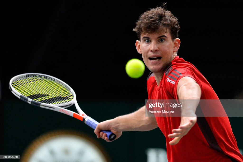 Dominic Thiem of Austria plays a forehand in the men's single first round match against Fernando Verdasco of Spain during day four of the Rolex Paris Masters at Palais Omnisports de Bercy on November 2, 2017 in Paris, France.