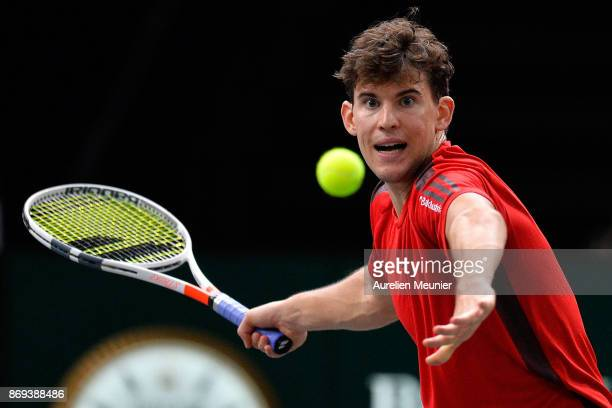 Dominic Thiem of Austria plays a forehand in the men's single first round match against Fernando Verdasco of Spain during day four of the Rolex Paris...