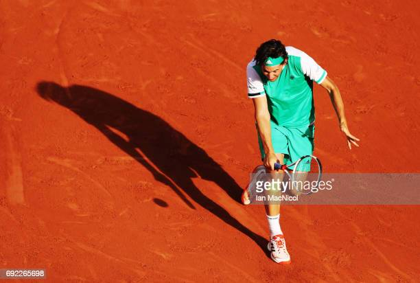 Dominic Thiem of Austria plays a forehand shot during his match with Horacio Zeballos of Argentina on Day Eight at Roland Garros on June 4 2017 in...
