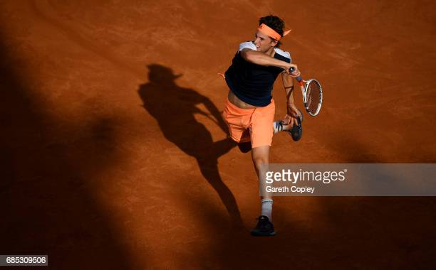 Dominic Thiem of Austria plays a shot during his quarter final match against Rafael Nadal of Spain in The Internazionali BNL d'Italia 2017 at Foro...