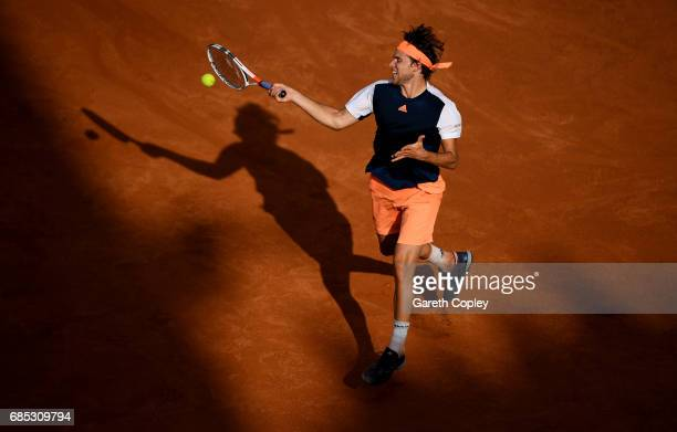 Dominic Thiem of Austria plays a shot during his quarter final match against Rafael Nadal of Spain in The Internazionali BNL d'Italia 2017 at Foro...