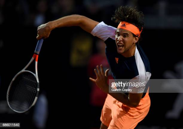 Dominic Thiem of Austria plays a shot during his semi final match against Novak Djokovic of Serbia in The Internazionali BNL d'Italia 2017 at Foro...