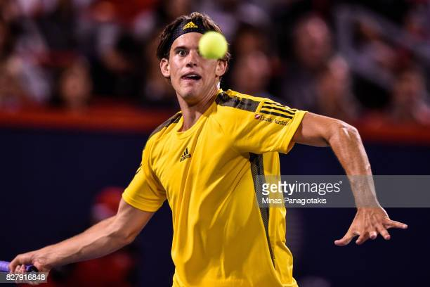 Dominic Thiem of Austria prepares to hit a return shot against Diego Schwartzman of Argentina during day five of the Rogers Cup presented by National...