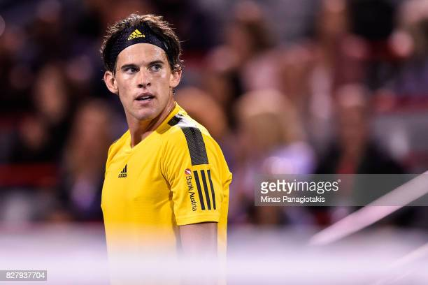 Dominic Thiem of Austria reacts after losing a point against Diego Schwartzman of Argentina during day five of the Rogers Cup presented by National...