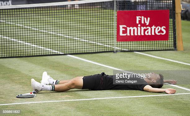 Dominic Thiem of Austria reacts after matchpoint during the final match against Philipp Kohlschreiber of Germany on day 10 of Mercedes Cup 2016 on...