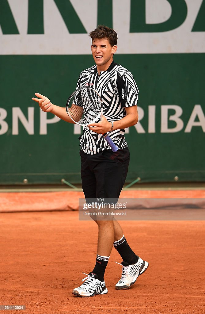<a gi-track='captionPersonalityLinkClicked' href=/galleries/search?phrase=Dominic+Thiem&family=editorial&specificpeople=7026383 ng-click='$event.stopPropagation()'>Dominic Thiem</a> of Austria reacts during the Men's Singles second round match against Guillermo Garcia-Lopez of Spain on day five of the 2016 French Open at Roland Garros on May 26, 2016 in Paris, France.