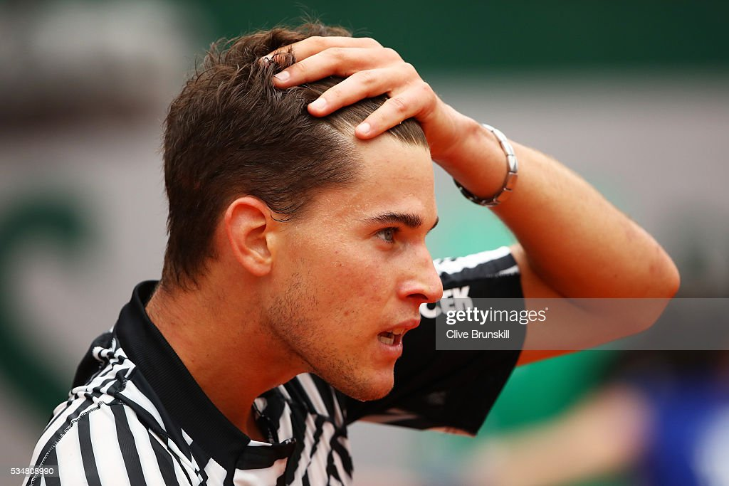 <a gi-track='captionPersonalityLinkClicked' href=/galleries/search?phrase=Dominic+Thiem&family=editorial&specificpeople=7026383 ng-click='$event.stopPropagation()'>Dominic Thiem</a> of Austria reacts during the Men's Singles third round match against Alexander Zverev of Germany on day seven of the 2016 French Open at Roland Garros on May 28, 2016 in Paris, France.