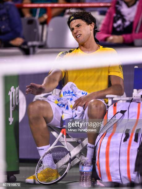 Dominic Thiem of Austria reacts in between sets against Diego Schwartzman of Argentina during day five of the Rogers Cup presented by National Bank...