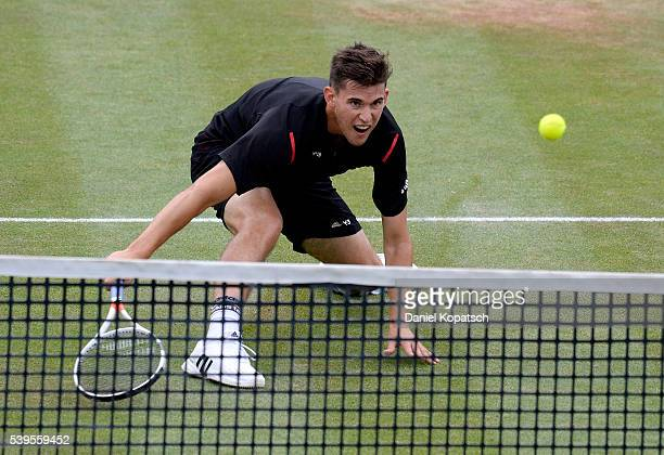 Dominic Thiem of Austria returns against Philipp Kohlschreiber of Germany during the final on day 9 of Mercedes Cup 2016 on June 12 2016 in Stuttgart...