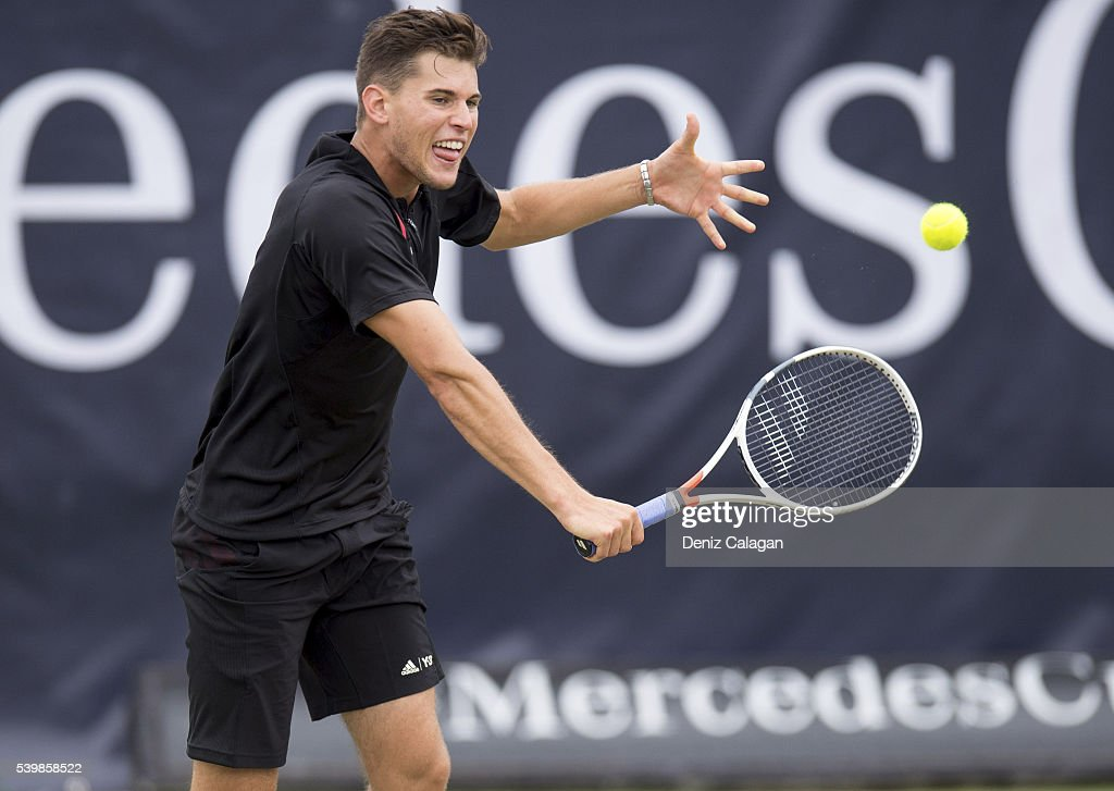 Dominic Thiem of Austria returns against Philipp Kohlschreiber of Germany during the final match on day 10 of Mercedes Cup 2016 on June 13, 2016 in Stuttgart, Germany.