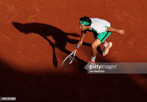 Dominic Thiem of Austria runs for a ball during his match with Horacio Zeballos of Argentina on Day Eight at Roland Garros on June 4 2017 in Paris...