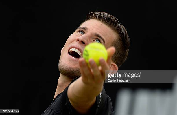 Dominic Thiem of Austria serves against Philipp Kohlschreiber of Germany during the final on day 9 of Mercedes Cup 2016 on June 12 2016 in Stuttgart...