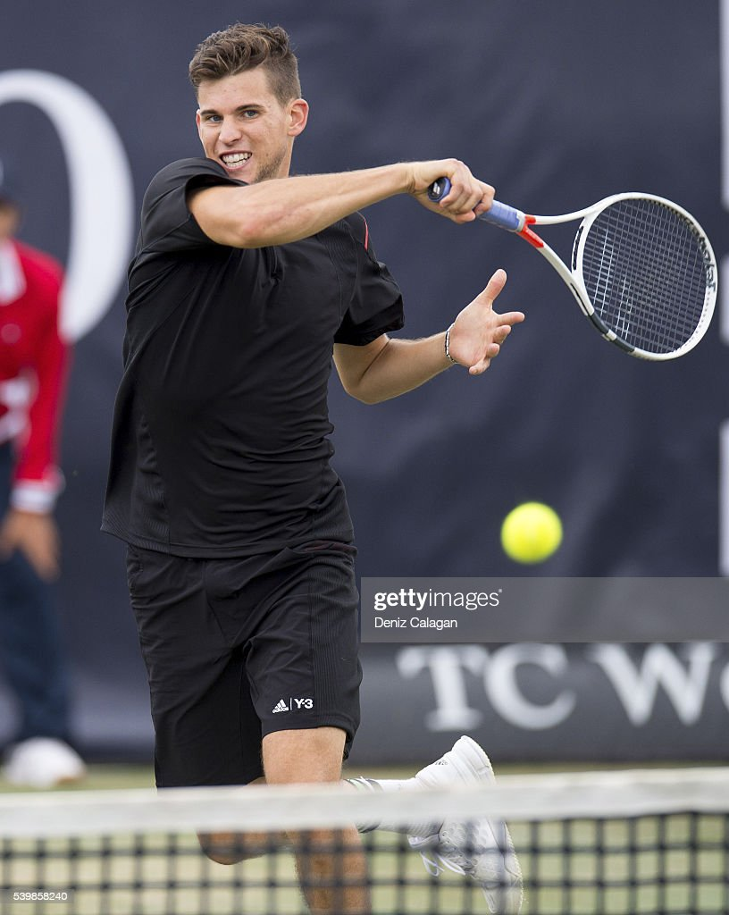 Dominic Thiem of Austria serves against Philipp Kohlschreiber of Germany during the final match on day 10 of Mercedes Cup 2016 on June 13, 2016 in Stuttgart, Germany.