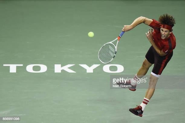 Dominic Thiem of Austria serves against Steve Johnson of the USA during day two of the Rakuten Open at Ariake Coliseum on October 3 2017 in Tokyo...