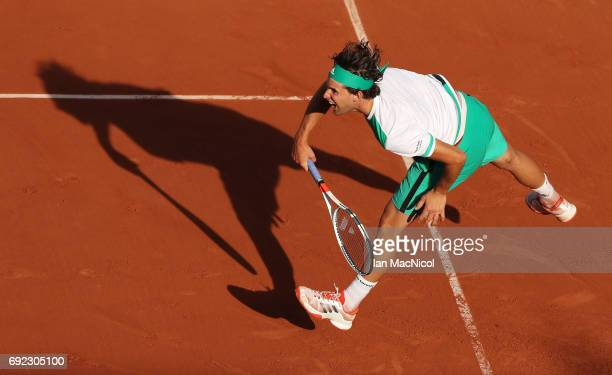 Dominic Thiem of Austria serves during his match with Horacio Zeballos of Argentina on Day Eight at Roland Garros on June 4 2017 in Paris France