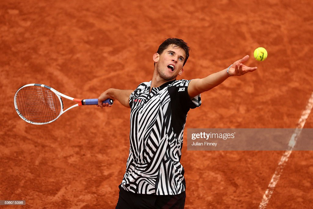 <a gi-track='captionPersonalityLinkClicked' href=/galleries/search?phrase=Dominic+Thiem&family=editorial&specificpeople=7026383 ng-click='$event.stopPropagation()'>Dominic Thiem</a> of Austria serves during the Men's Singles fourth round match against Marcel Granollers of France on day ten of the 2016 French Open at Roland Garros on May 31, 2016 in Paris, France.