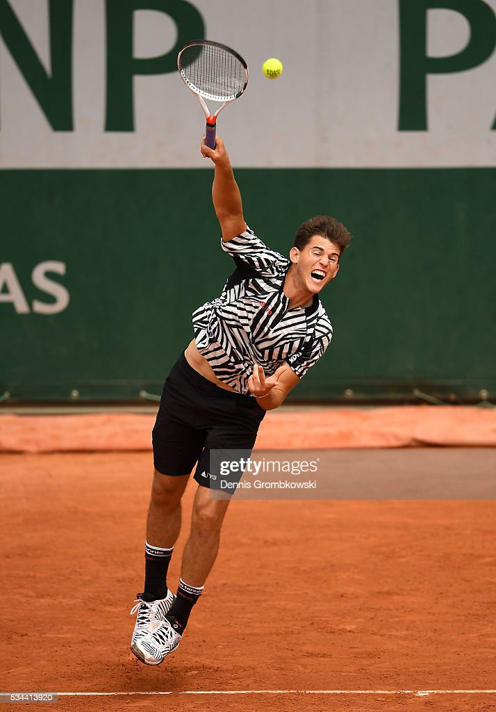 <a gi-track='captionPersonalityLinkClicked' href=/galleries/search?phrase=Dominic+Thiem&family=editorial&specificpeople=7026383 ng-click='$event.stopPropagation()'>Dominic Thiem</a> of Austria serves during the Men's Singles second round match against Guillermo Garcia-Lopez of Spain on day five of the 2016 French Open at Roland Garros on May 26, 2016 in Paris, France.