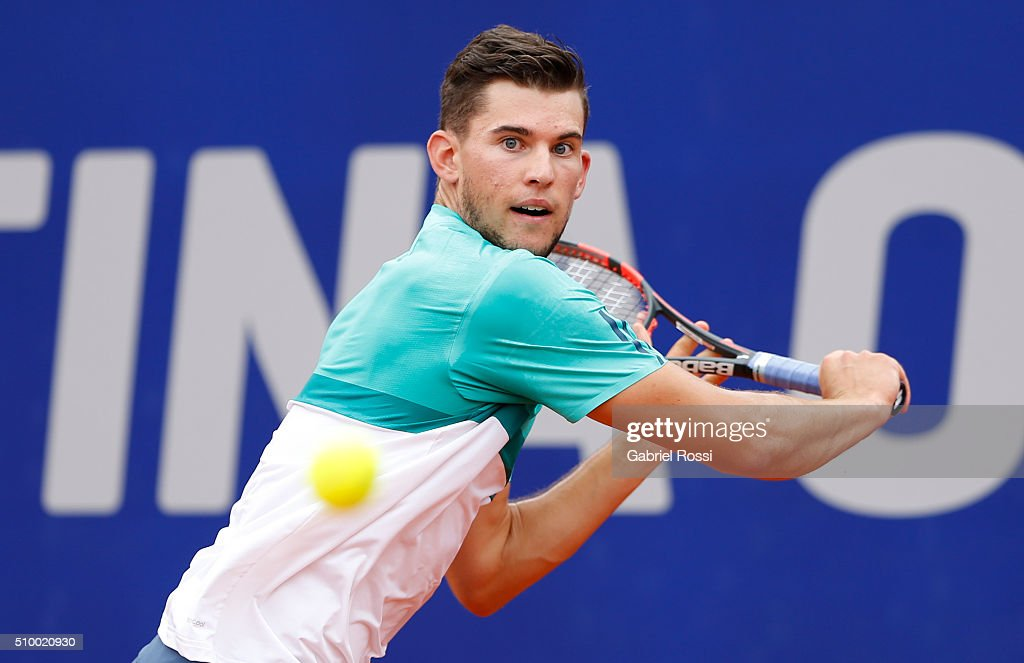 Dominic Thiem of Austria takes a backhand shot during a match between Rafael Nadal of Spain and Dominic Thiem of Austria as part of ATP Argentina Open at Buenos Aires Lawn Tennis Club on February 13, 2016 in Buenos Aires, Argentina.